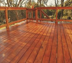 A newly stained deck completed by construction company Petti Construction in Sharon Center, OH